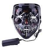KIRALOVE Máscara de monstruo horror – Ojos – Boca – Costura – Luces LED – Payaso – Joker – Carnaval – Zombie – Halloween –...