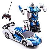 Highttoy Coche Transformador de Control Remoto,Coche de Juguete de la Policía Regalos para Niños 3-12 Años Coche Teledirigido Robot de Rotación de...
